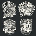Surfing vintage monochrome labels set Royalty Free Stock Photo