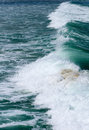 Surfing wave large green sea Royalty Free Stock Photo