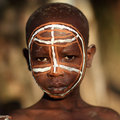 Suri boy with face painting at a ceremony in south omo ethiopia Stock Images