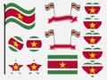 Suriname flag set symbols, flag in heart. Vector Royalty Free Stock Photo
