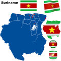 Suriname set detailed country shape with region borders flags and icons isolated on white background Stock Photography