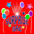 Surprise bag illustration for bags of surprises with balloons and stars in bright colors Stock Photography