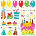 Surprise Birthday Elements Royalty Free Stock Photo