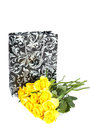 Surprise bouquet yellow with decorated bag isolated over white Stock Images