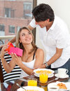 Surprise at breakfast Royalty Free Stock Photo