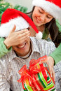 Surprise Christmas gift Stock Photography