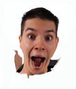 Surprise face jumping out Royalty Free Stock Photo