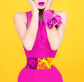 Surprise fashion lady in a crimson color style. Royalty Free Stock Photo
