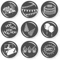 Surprise party monochrome button set time celebration cake gifts hats balloons flat gray with shadow on white background Stock Images