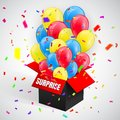 Surprise Poster with confetti and Balloons Bunch flying from open red box. Vector illustration Royalty Free Stock Photo