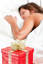Surprise Present waits woman Christmas - Valentine Stock Photos