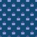 Surprise repeating pattern. Holiday pattern with giftboxes. Minimalistic wrap paper design in blue colors Royalty Free Stock Photo