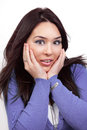 Surprise and shock expression on woman face Royalty Free Stock Images