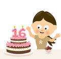 Surprise sixteen birthday illustration of a surprised girl w cake and candles Royalty Free Stock Images