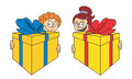Surprise vector illustration of children who are giving presents Royalty Free Stock Photography