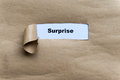 Surprise word on the torn paper background Stock Photo