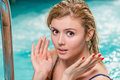 Surprised beautiful girl in the pool Royalty Free Stock Photo