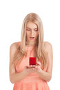 Surprised blond woman with ring in box Royalty Free Stock Image