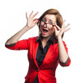 Surprised business woman in red jacket on white background Royalty Free Stock Photo