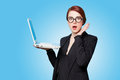 Surprised business women with laptop Royalty Free Stock Photo