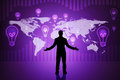 Surprised businessmans silhouette on purple Royalty Free Stock Photo
