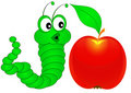 Surprised caterpillar looks at apple Stock Image