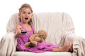 Surprised child remote control TV Royalty Free Stock Image