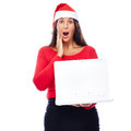 Surprised christmas santa girl laptop woman in outfit showing white Royalty Free Stock Images