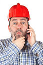 Surprised construction worker Stock Photos