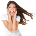 Surprised excited happy screaming woman isolated cheerful girl winner shocked over winning with funny joyful face expression Royalty Free Stock Image