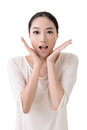 Surprised face asian woman with closeup portrait on white background Royalty Free Stock Photography