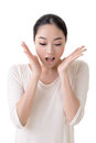 Surprised face asian woman with closeup portrait on white background Stock Photography