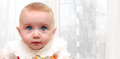 Surprised funny little baby portrait home Royalty Free Stock Photography