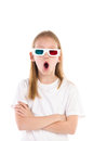 Surprised girl in d glasses cute wearing with mouth open looking full length studio shot isolated on white Royalty Free Stock Photo