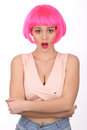 Surprised girl with pink hair. Close up. White background Royalty Free Stock Photo