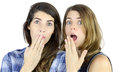 Surprised girls two female friends very Stock Images