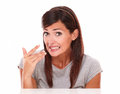 Surprised hispanic woman with mistake gesture headshot portrait of looking at camera on isolated white background Stock Photos