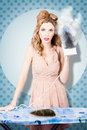 Surprised housewife with burnt out ironing board holding iron cooked on house cleaning chores Stock Images