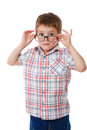 Surprised little boy in glasses Royalty Free Stock Photo