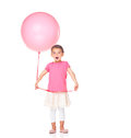 Surprised little girl with a balloon on white Royalty Free Stock Photos