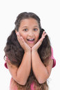 Surprised little girl on white background Royalty Free Stock Images