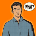 Surprised man pop art style vector illustration