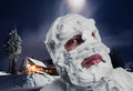 Surprised man with shaving foam on his head strange face and at night Royalty Free Stock Photo