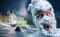 Surprised man with shaving foam on his head strange face and over winter background Stock Image
