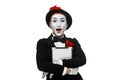 Surprised mime isolated on white background Royalty Free Stock Photo