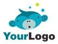 Surprised monkey logo Royalty Free Stock Photo