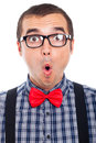 Surprised nerd man face Stock Photos