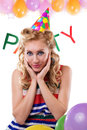 Surprised pinup girl with baloons and party word Royalty Free Stock Image