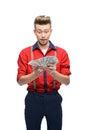 Surprised retro man holding money Stock Images