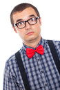 Surprised serious nerd man Royalty Free Stock Images